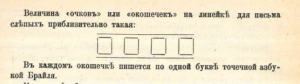 Изображение окошечек на линейке для плоского письма слепых