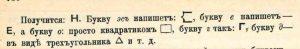 Изображение поясняет, как незрчие пишут разные буквы по квадратному трафарету-линейке